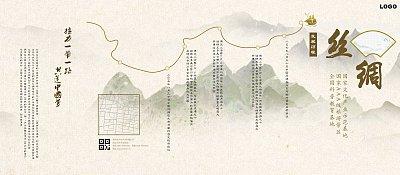 黄色中国风丝绸之路旅游宣传五折页